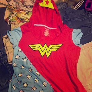 Wonder Woman top with hood and cape NWOT
